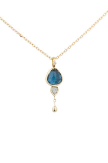 Celine Daoust One of a Kind Tourmaline with trillion diamond and Dangling detail Necklace