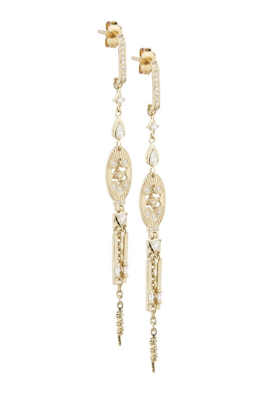 Celine Daoust Mandala Diamond and Merkabah Earrings