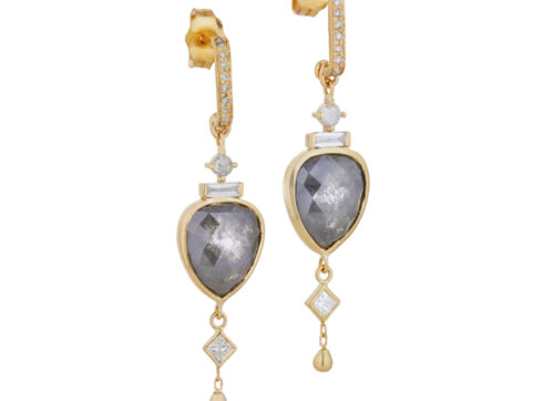 Celine Daoust Slice of the Universe Grey Diamonds Pear & Dangling Diamonds Earrings