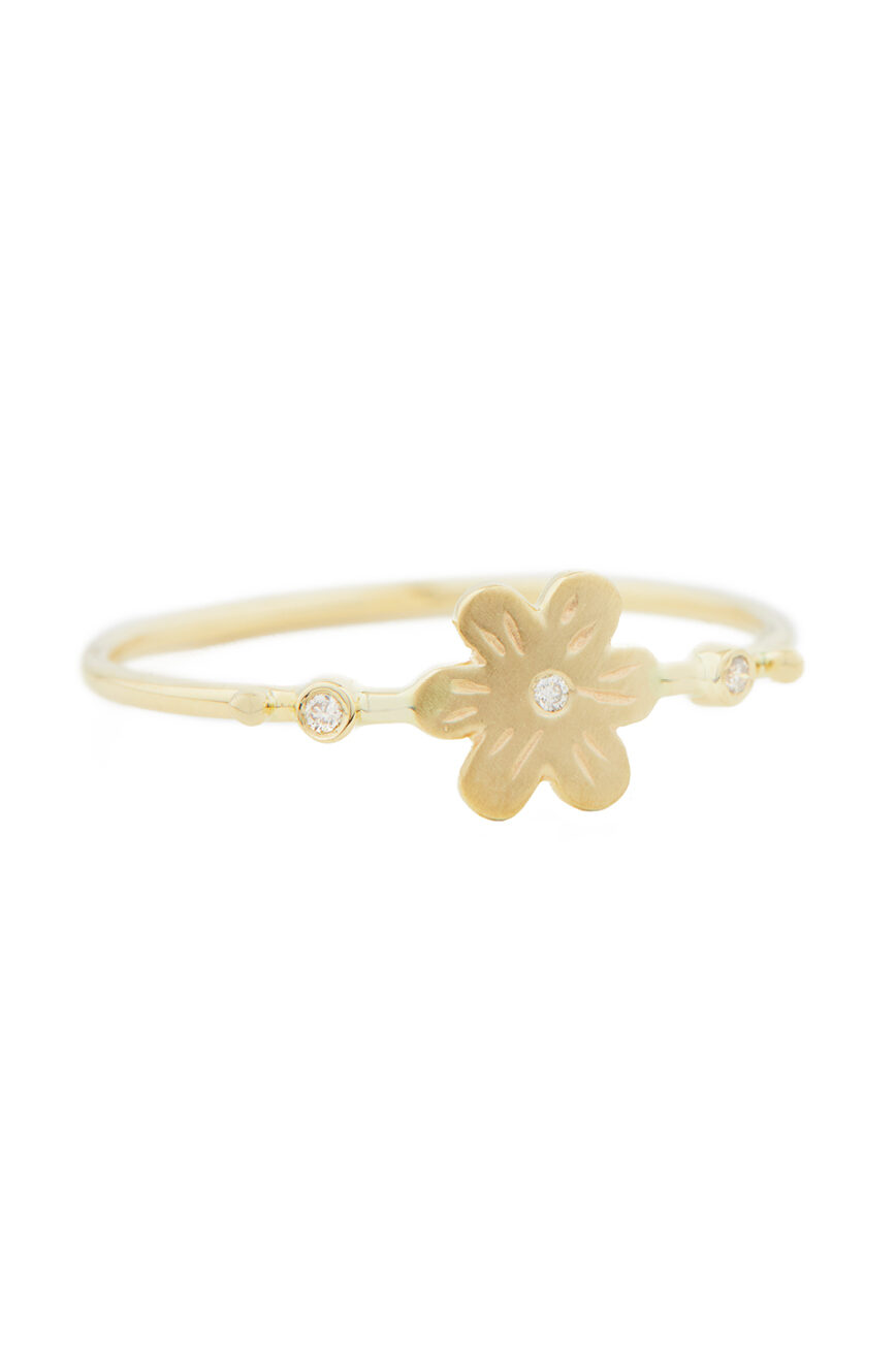 Celine Daoust From the Earth Flower and Diamonds Ring
