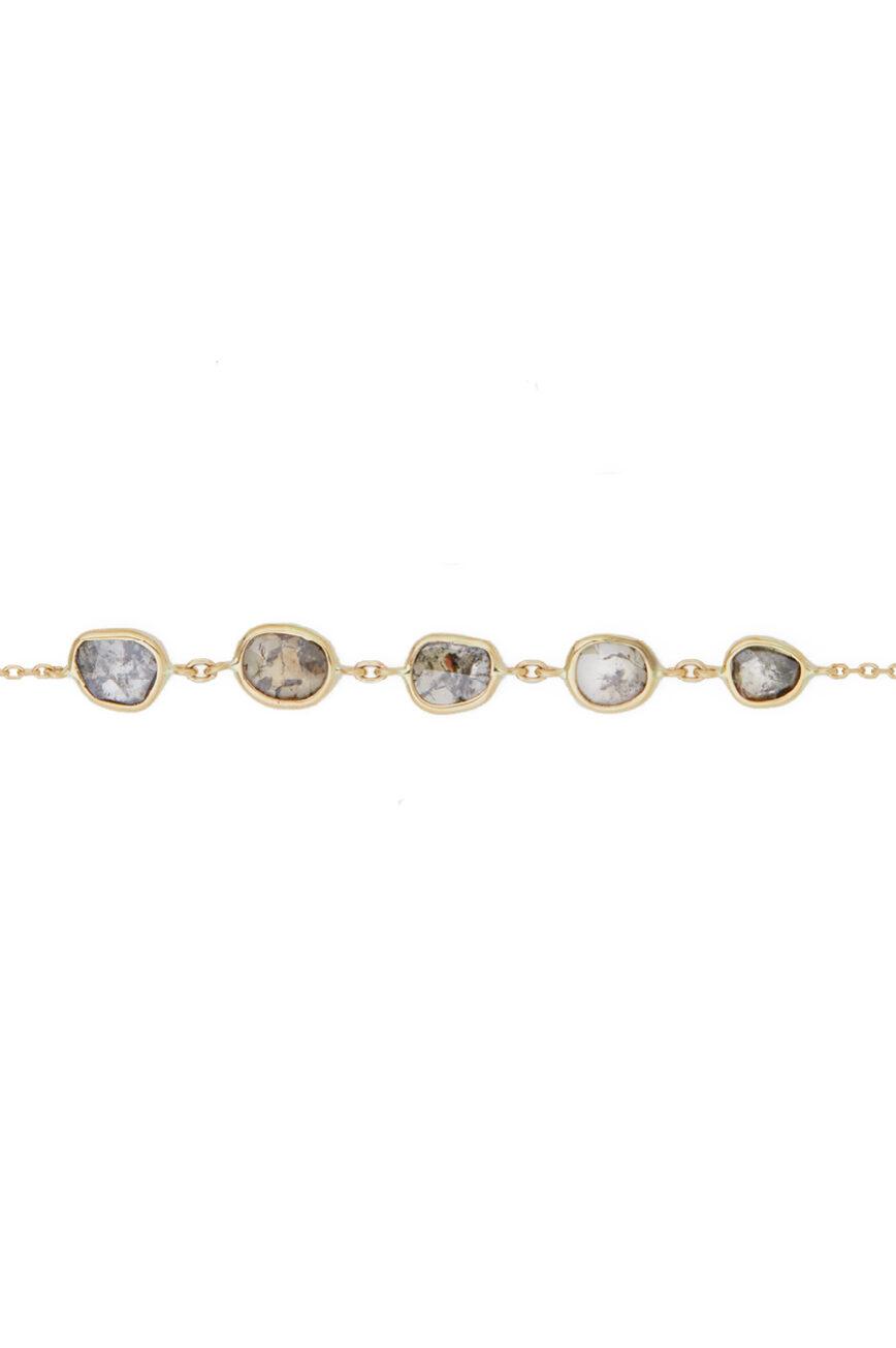Celine Daoust Slice of the Universe Multi Grey Diamond slice Chain Bracelet