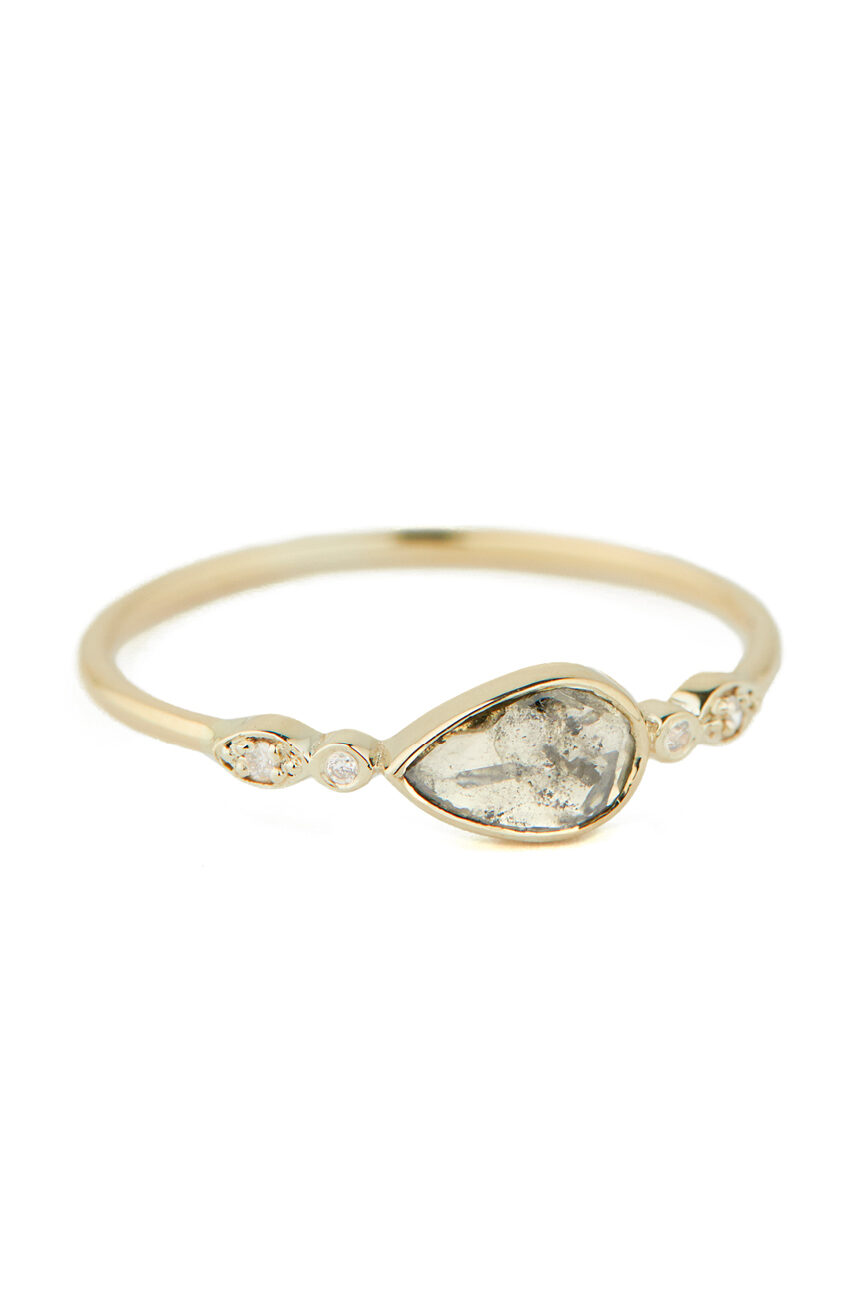 Celine Daoust Slice of te Universe Grey Diamond with 2 Diamond Eyes Ring