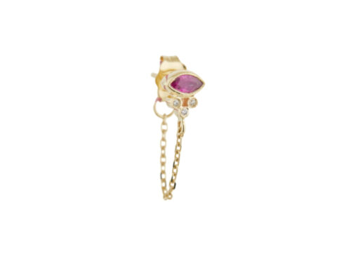 Celine Daoust Protection and Believes Marquise ruby and tubes diamonds single chain Earring