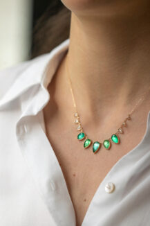 Celine Daoust Multi Emeralds and Diamonds slices and rose cut Diamonds Necklace