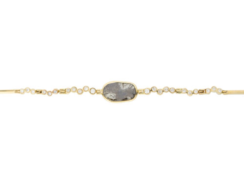 Celine Daoust Slice of the Universe Grey Diamond and twisted Diamonds Articulated Bracelet