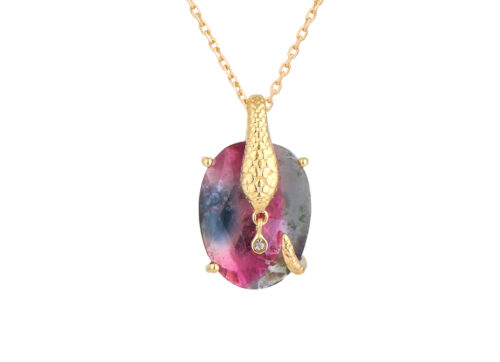 Celine Daoust From the Earth Tourmaline snake and dangling Diamonds Chain Necklace
