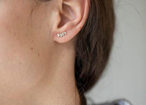 Celine Daoust One of a Kind Multi Grey diamond Single Earring Stud