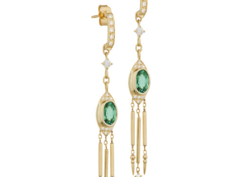 Celine Daoust Guardian Spirit Yellow Gold Tourmaline and Diamonds Dangling Details Earring_