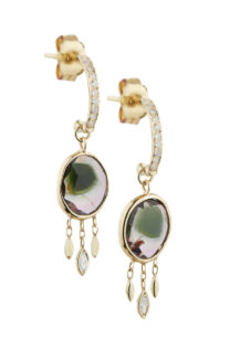 Celine Daoust One of a kind Tourmaline and Dangling Diamond Hoop Earring