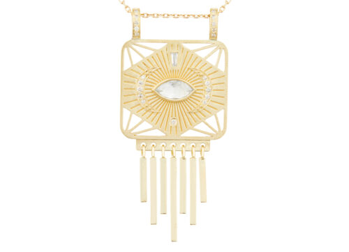 Celine Daoust Guardian Spirit Yellow Gold Plate Diamonds and Eye Diamond Totem Chain Necklace