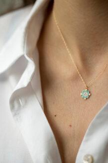 Celine Daoust New Enamel and Trillion diamond with diamonds Chain Necklace