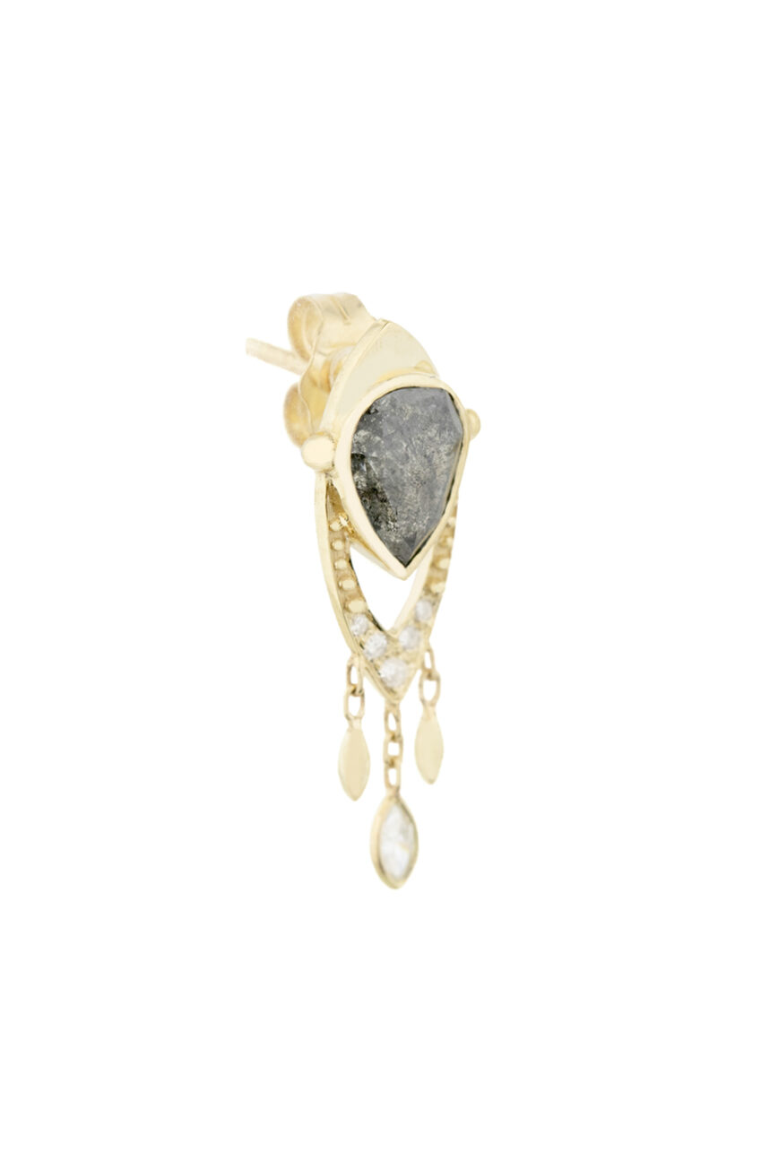 Celine Daoust Slice of the Universe Grey Diamonds Pear & Dangling Diamond Single Earring