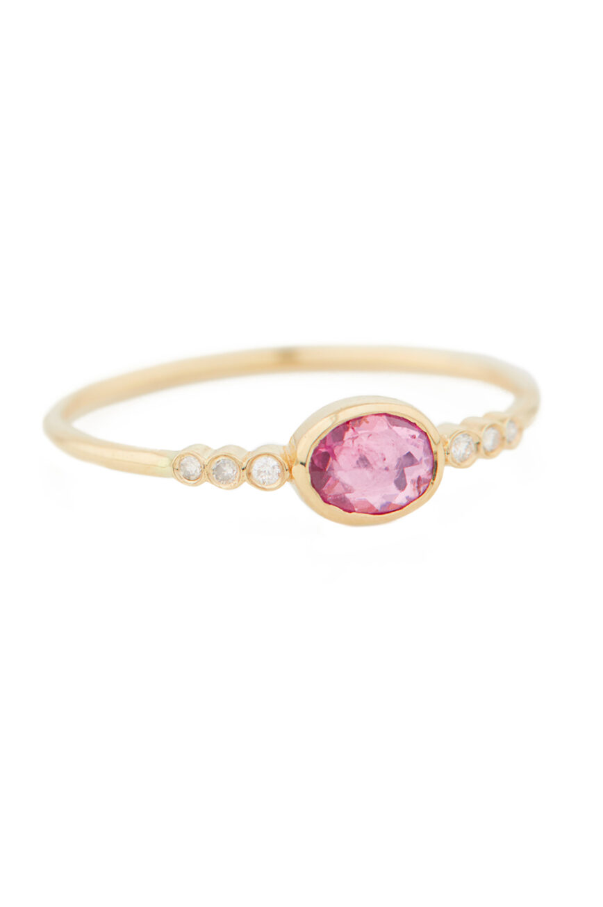 Celine Daoust One of a Kind central Tourmaline and tube Diamonds Ring