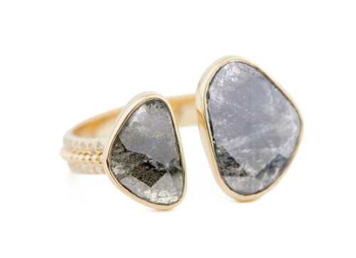 Celine Daoust Slice of the Universe Grey diamonds slice diamonds and gold balls Open Ring