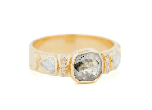 Celine Daoust Totem Grey Diamond and Diamonds Ring