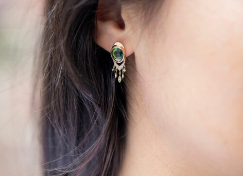 Celine Daoust One of a Kind Tourmaline & dangling diamonds Earring