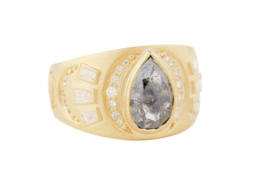 Celine Daoust Slice of the Universe Grey Diamond Pear and Diamonds Ring