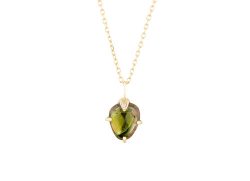Celine Daoust One of a Kind Tourmaline Diamond Claw Necklace