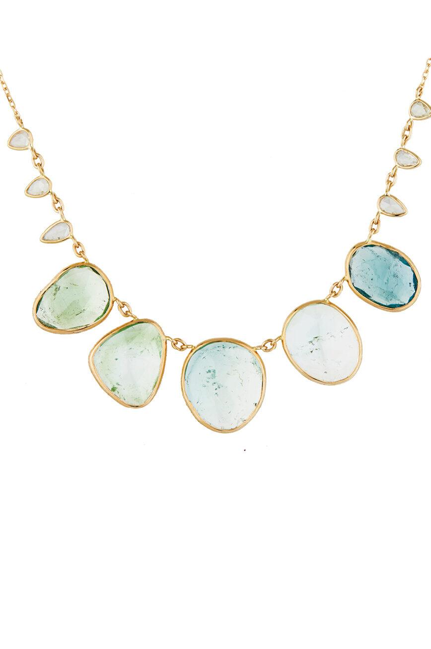Celine Daoust One of a Kind multi Tourmaline and rosecut Diamonds Necklace
