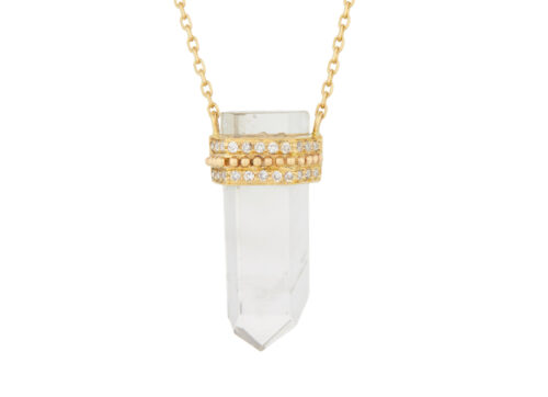 Celine Daoust One of a Kind Quartz Pencil with small diamond Necklace