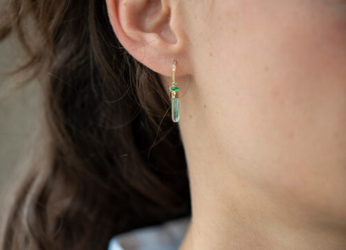 Celine Daoust One of a Kind Emerald pencil and diamond Single Hoop Earring