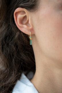 CelineDaoust One of a Kind Tourmaline pencil and diamond Single Hoop Earring