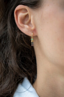Celine Daoust One of a Kind Tourmaline pencil and diamond Hoop Earrings