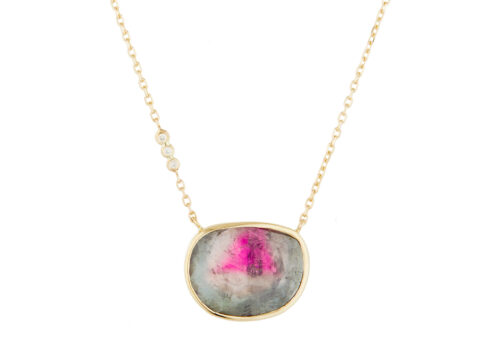 Celine Daoust_One of a Kind Tourmaline with small diamond Necklace