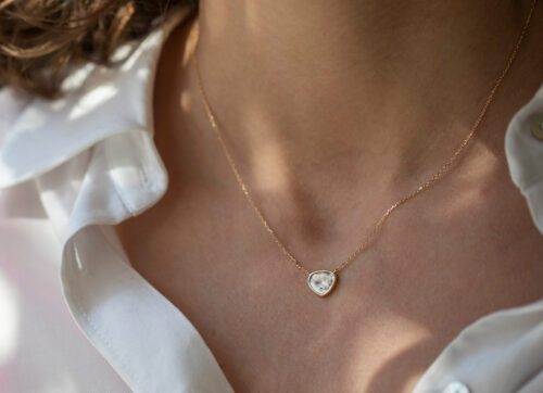 Celine Daoust Slice of the Universe Grey Diamond and three diamonds Necklace