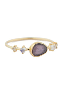 Celine Daoust One of a Kind Tourmaline with 2 Diamonds & Moonstones Ring