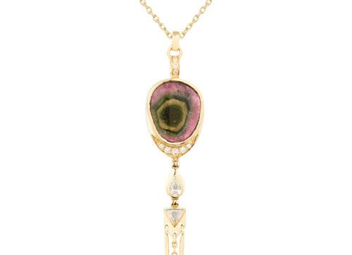 Celine Daoust Mandala Yellow Gold Tourmaline and Diamond Necklace