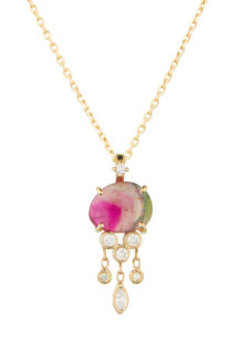 Celine Daoust One of a kind Tourmaline and Dangling Diamonds Jellyfish Necklace