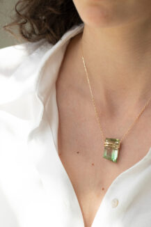 Celine Daoust One of a Kind Rough pencil tourmaline Chain Necklace