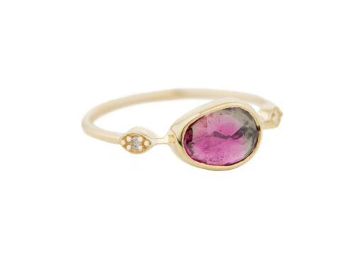 Celine Daoust One of a Kind Tourmaline with 2 Diamond Eyes Ring