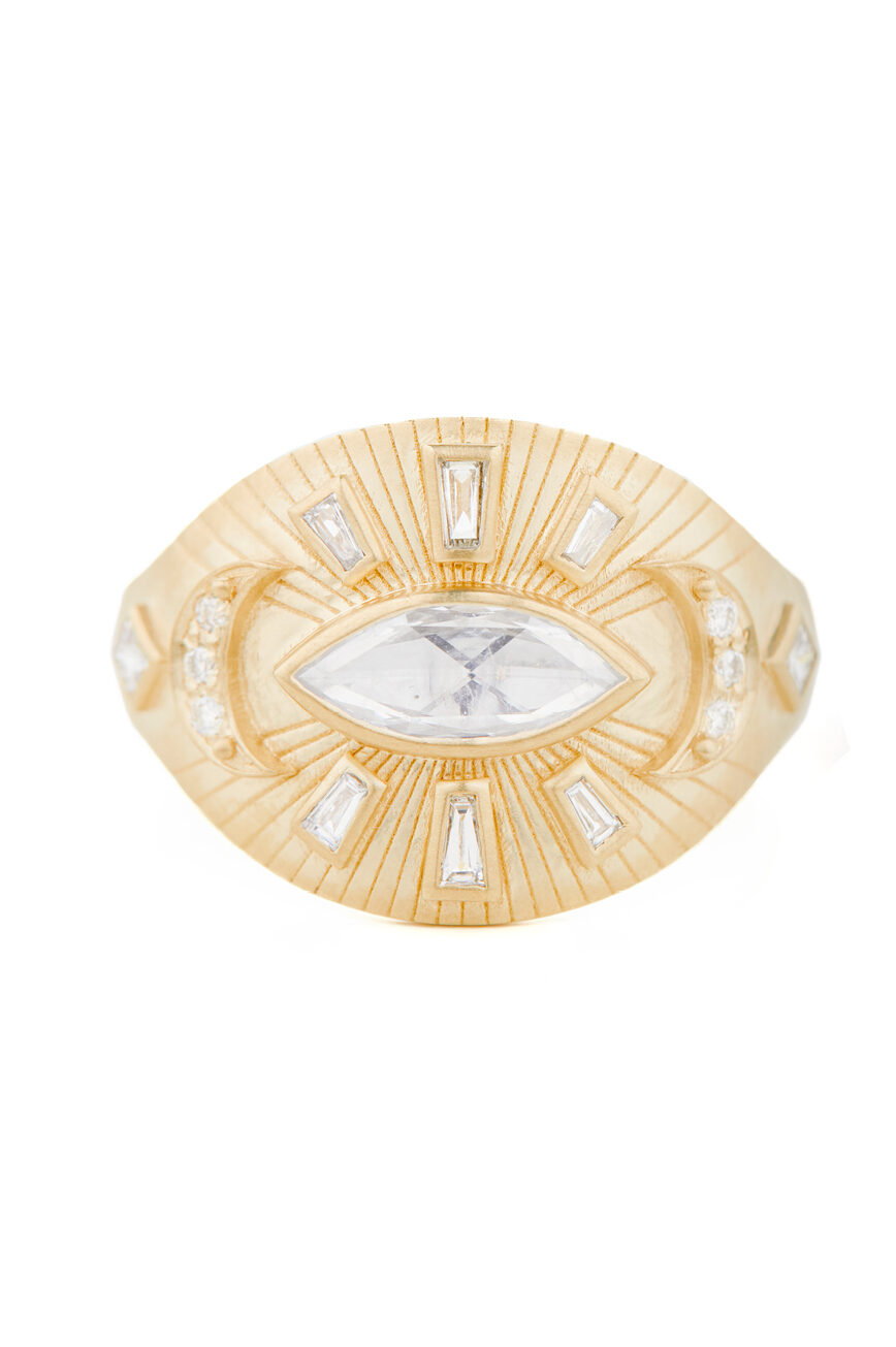 Celine Daoust Protection and Believes Eye Marquise Diamond Ring