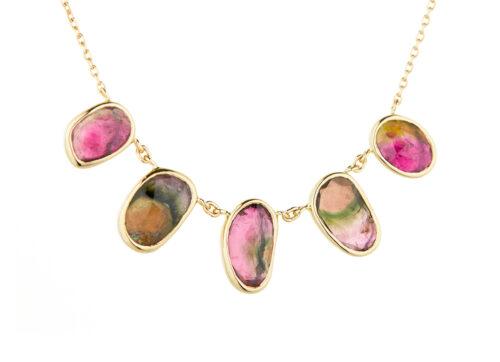 1561 01 Celine Daoust One of a Kind multi Tourmaline and rosecut Diamonds Necklace