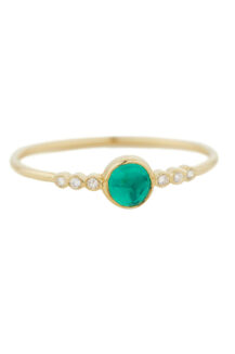 Celine Daoust One of a Kind central Emerald and tube Diamonds Ring