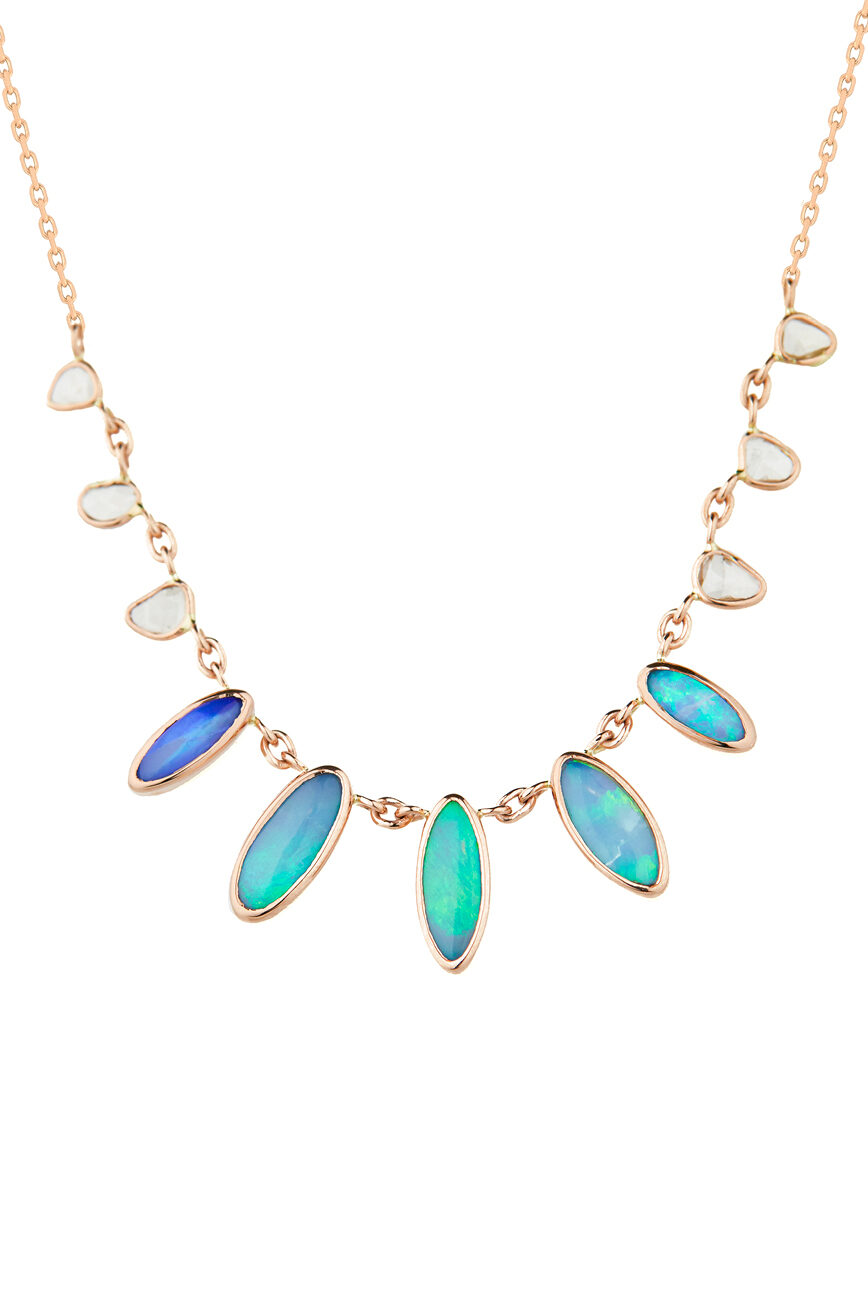 Celine Daoust One of a Kind multi Opals and rose cut Diamonds Necklace