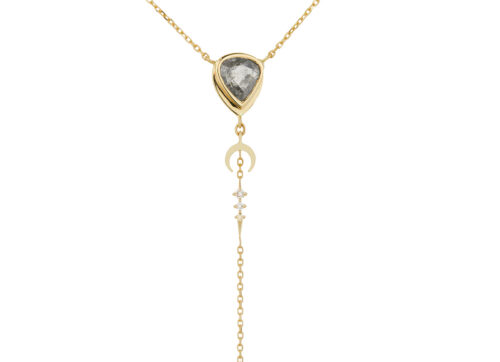 Celine Daoust One of a Kind Grey Diamonds with small diamond Lariat Necklace