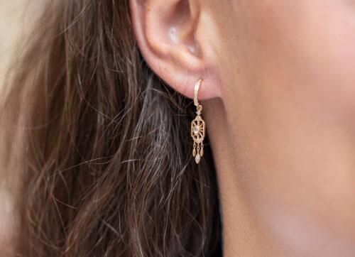 Celine Daoust Pear Diamond Octagonal single Hoop Earring