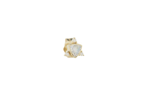 Celine Daoust One of a Kind Moonstone and diamonds yellow gold Single Earring