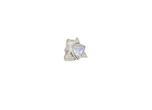 Celine Daoust One of a Kind Moonstone and diamonds white gold Single Earring