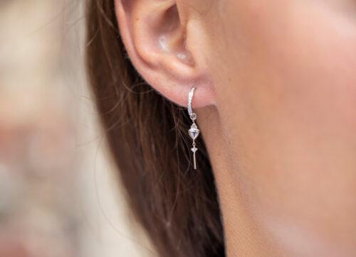 Celine Daoust Moonstone Power Moonstone and diamonds Hoop Single Earring