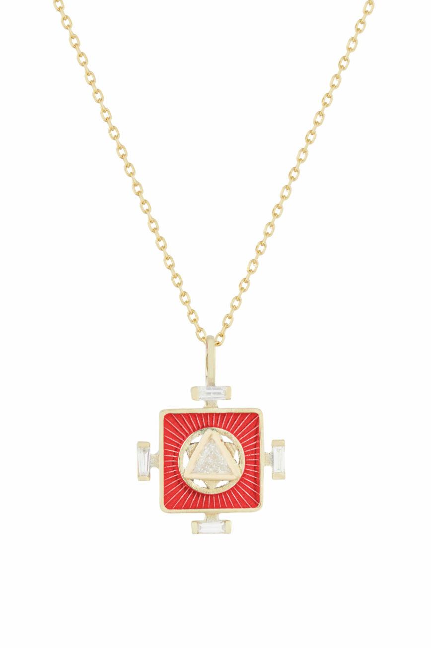 Celine Daoust Yantra Necklace Enamel and Trillion Diamond