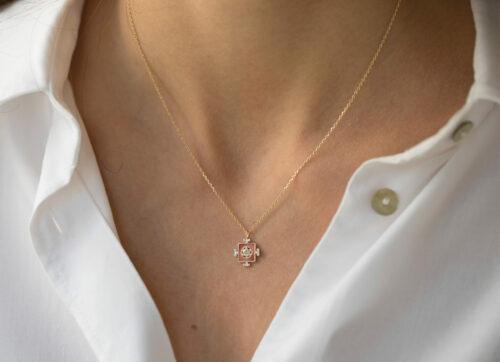 Celine Daoust Yantra Enamel and Diamond Baguettes Necklace