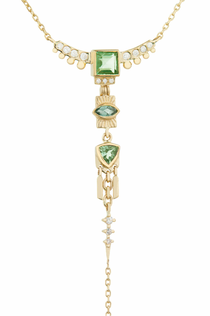 Celine Daoust Guardian Spirit Tourmalines and Diamonds Lariat Totem Necklace