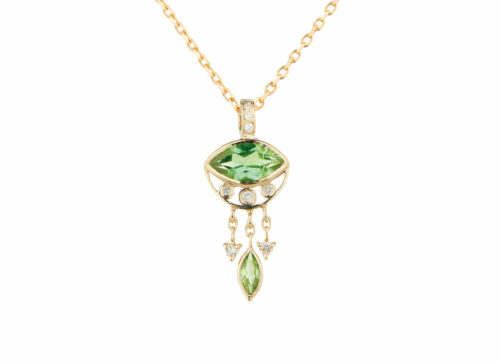 Celine Daoust Guardian Spirit Tourmaline Eye with diamond and Dangling Tourmaline Marquise Necklace