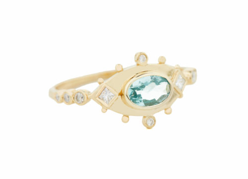 2106 01 Celine Daoust One of a kind Aquamarine and Diamonds Ring_blue